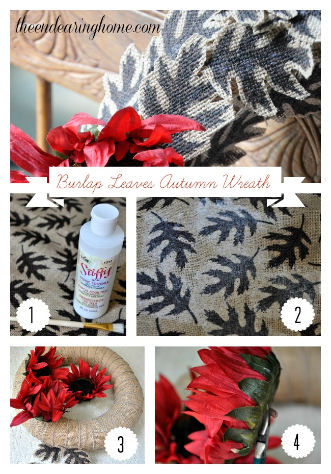 Burlap Leaves Autumn Wreath Tutorial
