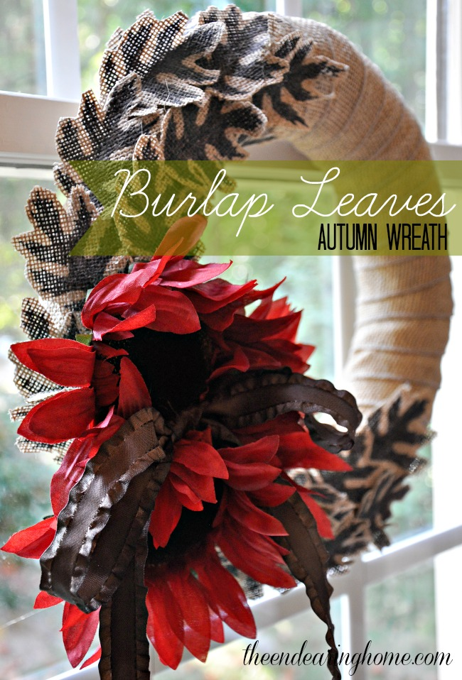 Burlap Leaves Autumn Wreath