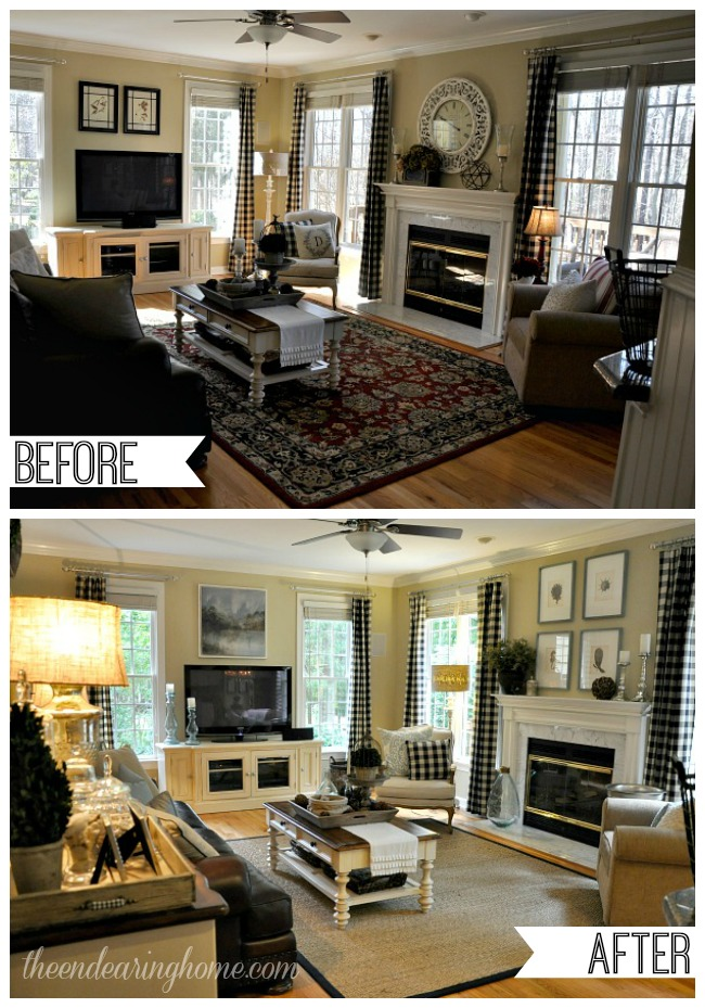 Coastal cottage family room makeover - Before and after the spectacular change of a s living room ...