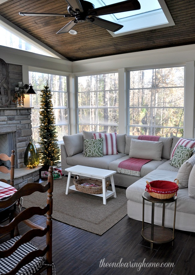 Christmas cheer on the porch for Great room addition off kitchen