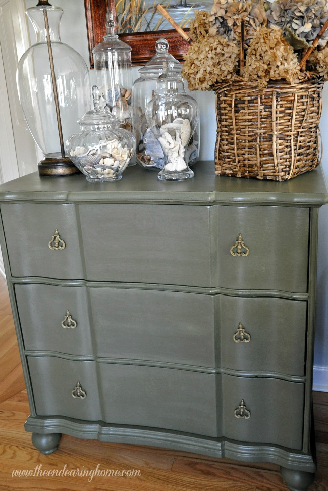 Annie Sloan Olive Painted Chest of Drawers