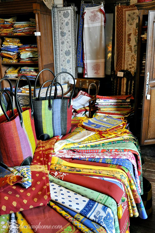 French tablecloths and straw market totes