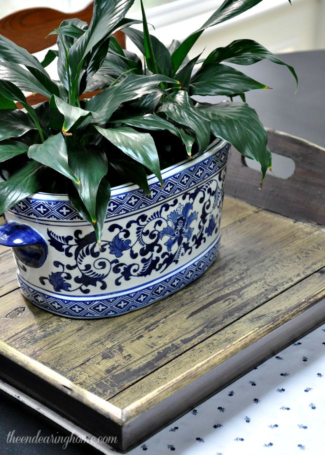 Weathered Wood Tray Makeover - The Endearing Home