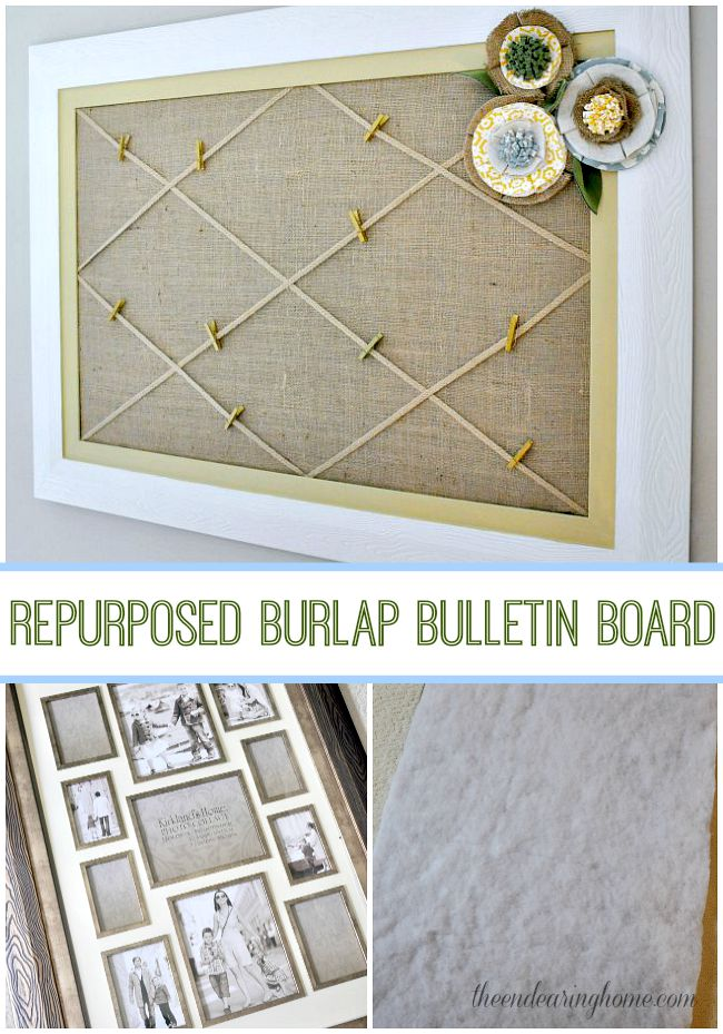 Repurposed Burlap Bulletin Board - The Endearing Home