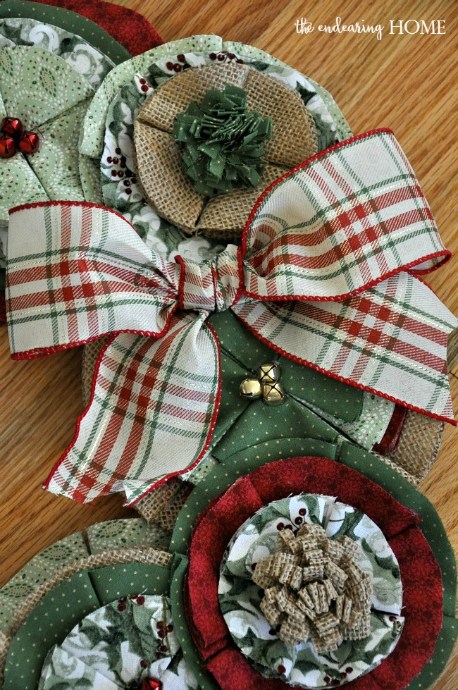Fabric Flower Christmas Wreath - The Endearing Home