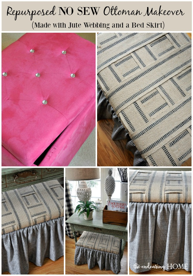 Repurposed No Sew Ottoman Makeover