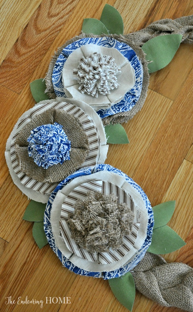Braided Burlap and Scrap Fabric Flowers Wreath