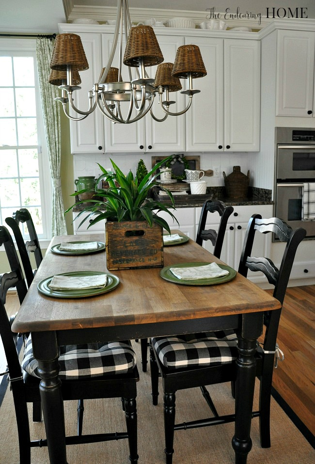 Farmhouse style kitchen table makeover for Kitchen table decoration ideas