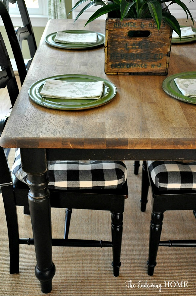 Farmhouse Wood Kitchen Table Makeover - The Endearing Home