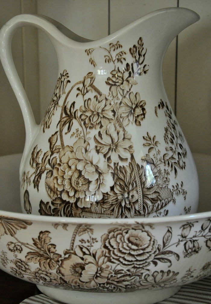 Brown Transferware Bowl and Pitcher - The Endearing Home